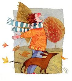 happy fall illustration: by Isabel Hojas Art And Illustration, Autumn Art, Autumn Leaves, Blowin' In The Wind, Wow Art, Windy Day, Whimsical Art, Graphic, Art Pictures