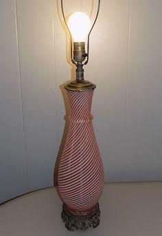 """34"""" lamp Red White swirl striped Murano Glass Barovierf aventurine mid century"""
