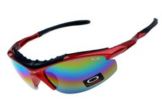 Popular Oakley Wrap Sports Cycling Sunglasses Red Black Frame Colorful L
