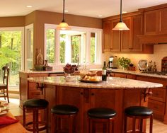 Curved Kitchen Island Design, Pictures, Remodel, Decor and Ideas - page 2 Maple Kitchen Cabinets, Kitchen Decor, Kitchen Inspirations, Home Kitchens, Kitchen Design, Kitchen Island With Seating, Kitchen Island Design, Kitchen Layout, Contemporary Kitchen