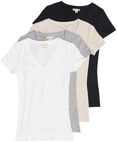 70cd8f57e3 4 Pack Zenana Women s Basic V-Neck T-Shirts Small Black