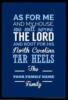 North Carolina Tar Heels Christian Family Wall Print. Take a look at our Etsy store, choose your favourite item and use FATHERSDAY15 coupon code for Free shipping within US! #inspirational #quote #poster #mancave #fathersday #gift