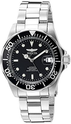 Was £219.00 > Now £62.00.  Save 72% off Invicta Pro Diver Men's Automatic Watch with Black Dial Display and Silver Stainless Steel Bracelet #5StarDeal, #Apparel, #Invicta, #LowestEver, #Under75, #Watch