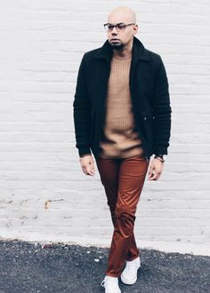 Men's Chunky Ribbed Knit Sweater + Slim Chinos  Jacket // Topman -- Sweater // Forever 21 -- Chinos // Forever21 -- Sneakers // Converse