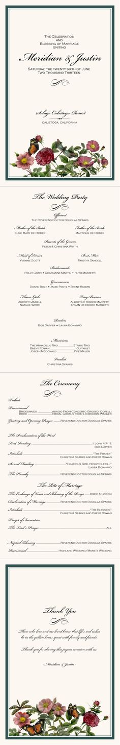 Katherine Wedding Program SAMPLE by LoloLincoln on Etsy, $500 - wedding agenda sample