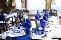 cobalt blue dinnerware for wedding reception - Google Search