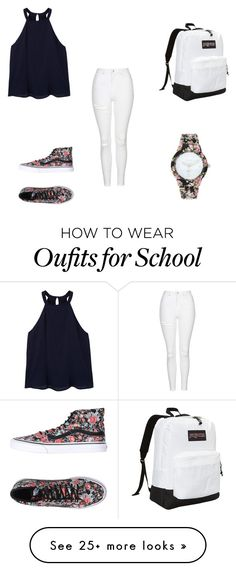 """School"" by sarah0108 on Polyvore featuring MANGO, Vans, Topshop, JanSport and Decree"