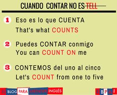 Spanish vocabulary - Contar #spanishlanguagetips