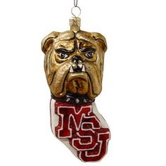 Mississippi State Bulldogs Blown Glass Christmas Ornament