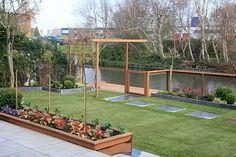 Afbeeldingsresultaat voor hek tuin langs water - Lilly is Love Garden Bridge, Zeppelin, Home And Garden, Backyard, Outdoor Structures, World, Nature, Plants, Google