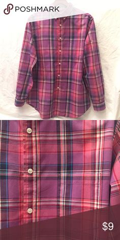 Men's Plaid ButtonUp Purple and pink / Size Large / Pocket on front left Merona Shirts