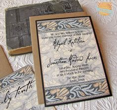 Art Nouveau Style Wedding Invitation in blues and creams by SunshineandRavioli