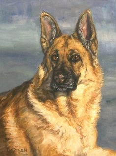 Noble Shepherd Oil Painting Dog Pet Portrait Art German, painting by artist Debra Sisson