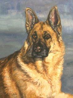 Noble Shepherd Oil Painting Dog Pet Portrait Art German, painting by artist Debra Sisson