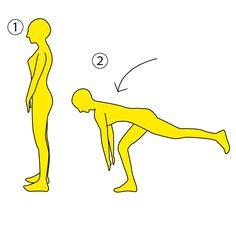 【バランスエクササイズ】 ■やり方 ※画像参照 1.背筋を伸ばし、正面を向いて立ちます。※画像①参照  2.左足先から頭が一直線になるように保ち、右足は軽く曲げて画像②のように上半身を前傾していきます。 ※画像参照  3.画像②の体勢で息を吐きながら10秒キープし、ゆっくり元に戻ります。  4.直立の姿勢に戻ったら、次に反対(右足)側を上げながら同様の動作をしましょう。  これを合計10回(各5回)やりましょう♫  ■POINT 1.常に背筋を伸ばして行いましょう。  2.体を前傾したときは両手を前に出してバランスをとりましょう。  3.軸足がグラグラしないように、お尻、お腹にしっかりと力を入れましょう。   全身の細かな筋肉まで刺激できるエクササイズです!  全身一気にシェイプアップしたい人は是非チャレンジしてみましょう♫