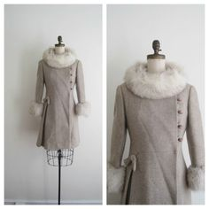 1960s princess coat / fox trim / SANDSTONE. $225.00, via Etsy.