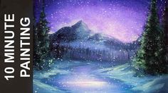 Painting a Snowy Winter Night Landscape with Acrylics in 10 Minutes!