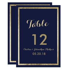Elegant stylish modern navy blue and faux gold luxury chic wedding Table Number.