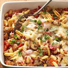"Healthy Baked Cavatelli. This hearty Italian casserole is called ""healthy"" for a reason! Packed with veggies, turkey sausage, and reduced-fat cheese, this bubbly low-fat dish offers a smart way to satisfy those cold-weather cravings."