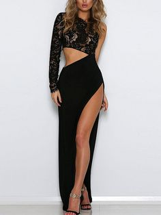 New romantic in this sexy lace maxi dress from Yoins. Made from a lace fabrication in a slim-cut, empire-waist silhouette. Topped with a sheer lace throughout and one shoulder design. Features cutouts at the waist and leg slit design. Perfect to show your chic figure.