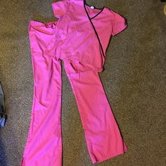 21e52642f6e Hot pink scrubs set with black accent. Hot pink scrubs set from Cherokee.