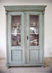 """Painted cabinet inspiration: """"This style is so versatile & adaptable as a bookcase, china cabinet, linen press, media cabinet, etc. Painting Cabinets, Redo Furniture, Painted Furniture, Refinishing Furniture, Linen Press, Wardrobe Armoire, Furniture Inspiration, Furniture Makeover, Vintage Furniture"""