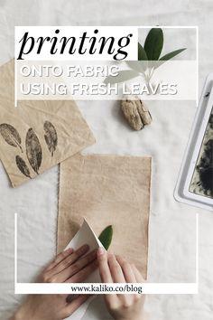 How to print with plants onto fabric — kaliko Hand Printed Fabric, Printing On Fabric, Fabric Painting, Fabric Art, Natural Dye Fabric, Natural Dyeing, Fabric Stamping, How To Dye Fabric, Dyeing Fabric