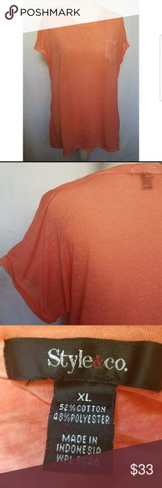 Womens V-Neck Short Sleeve Burnout Pocket Tee XL Womens V-Neck Short Sleeve Burnout Pocket Tee XL   Size: XL Retail: $ 40  Description: Style&co. Womens XL Short Sleeve Color Peach Casual T-Shirt Burnout Pocket Tee. Nice versatile light and airy wardrobe piece.  Bust: 24 in.  Length: (collar to hem) 27 in.   Condition: Good Preowned Condition Style & Co Tops Tees - Short Sleeve