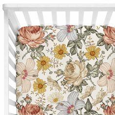 Peyton's Vintage Floral Crib Sheet - It's Baby Time. Nursery Themes, Nursery Wall Art, Nursery Ideas, Nursery Crib, Room Ideas, Safari Nursery, Decor Ideas, Nursery Inspiration, Nursery Decor