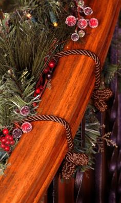 Decorative Garland Twist Ties- Brown, 6pk. This beautiful satin cord has a hidden wire inside making it work like a giant twist tie. Just wrap it around your garland and twist the ends to secure it to your railing or bannister. Its that simple! Consider all the additional uses. Perfect as a seasonal towel tie. Use as a napkin tie for a luxurious tabletop display. Or even use it to tie back small curtains.