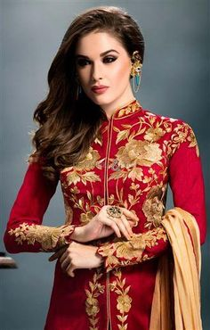 #Gownstyle dresses patterns designer #salwarkameez #embroiderydesigns Gorgeous girls like wearing gown style dresses patterns in social functions. This designer salwar kameez is thus styled by superb embroidery designs to attract the modern girls.