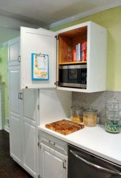 Furniture Wood Wall Mounted Microwave Storage Under