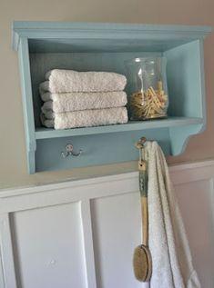 Martina Bath Wall Storage Shelf with Hooks | Ana White