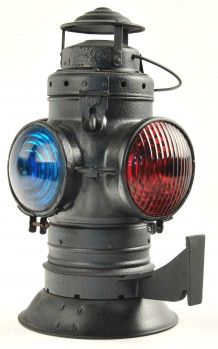 """Armspear Caboose Lamp with bellbottom and mounting bracket, 2 green and 2 red lenses. No Pot or Burner Inside. size: 14.5"""" t."""