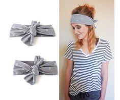 Grey Arrow Knot Headband// knotted headband by BlueEyedBabyCouture