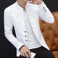 2018 mens casual - 2018 Men's casual collar collar blazer youth handsome trend Slim print blazer Blazer Outfits Men, Mens Fashion Blazer, Outfits Casual, Casual Blazer, Mode Outfits, Suit Fashion, Blazers For Men Casual, Men Blazer, King Fashion