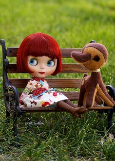 Blythe on a park bench