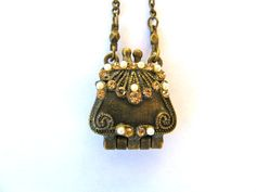 Vintage VCLM Purse Locket With Pearls and by skybluewater on Etsy, $8.00