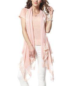 Look what I found on #zulily! Pink Lace Vest & Crewneck Tee #zulilyfinds
