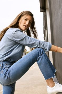 madewell chambray classic ex-boyfriend shirt worn with cali demi-boot jeans,  madewell x veja sneakers + beaded chain bracelet
