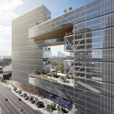 waterfront building designs buenos office window dezeen aires urban with som to SOM designs Buenos Aires office building with urban window to waterfront DezeenYou can find Office buildings and more on our website Modern Office Building, Office Building Lobby, Office Building Plans, Office Building Architecture, Building Exterior, Building Facade, Concept Architecture, Facade Architecture, Ancient Architecture