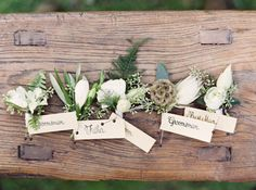 Woodland boutonnieres. Style: Rustic. Mood: Whimsical, Natural, Casual.