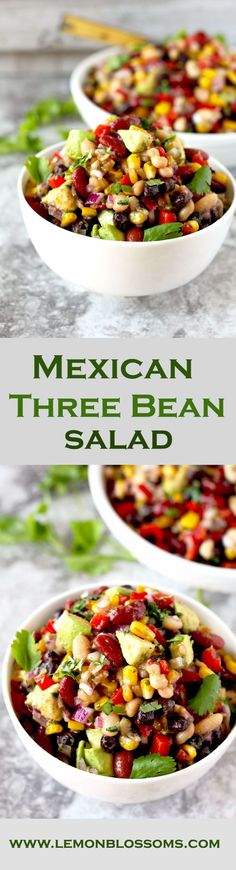 This protein-rich Mexican Three Bean Salad is loaded with southwestern flavors. Quick, easy and the perfect make-ahead dish to serve when you have company, at parties or potlucks. 3 Bean Salad, Mexican Bean Salad, Mexican Beans Recipe, Mexican Salad Recipes, Mexican Salads, Three Bean Salad, Mexican Side Dishes, Three Beans, Healthy Salad Recipes