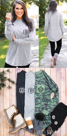 Monogrammed long-sleeve shirts from Marleylilly expand the possibilities of your transitional wardrobe! In a figure-flattering tunic cut that layers easily with our monogrammed quilted vests, these easy-care, easy-wear shirts are the go-to staple season after season.