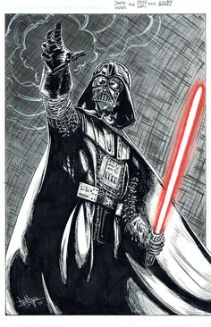 2015 Darth Vader pinup process 9 of 11 I used a red color pencil to outline Vader's lightsaber and used a bit more white ink to add a few more details over the black areas...here's a final scan of the whole finished page :-) #arielsartwork #darthvader #vader #sith #anakin#starwars #pinup #process #wip #workinprogress #art #illustration #drawing #pencil #blueline #nonphotoblue #ink #blackink #crowquill #nib #brush #copic #copicmarker #marker #grey #greytones #white #whiteink #red #colorpencil