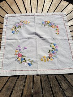 Danish Vintage Embroidered Table Cloth Square Center Piece