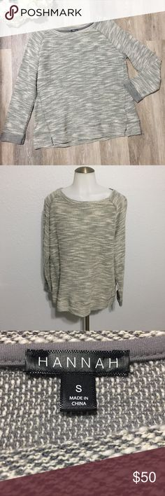 NEW🎈Hannah Crew Neck Sweater New!! No tags :( they fell off. Size Small. 50% cotton. 40% Polyester. 10% metallic. Gray & off white. Christmas gift ready! Make an offer. Bundle & SAVE! Hannah Sweaters Crew & Scoop Necks