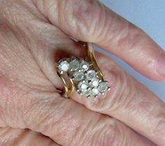 Vintage Ring Sz 8 Frosted Rhinestones by YoursOccasionally on Etsy