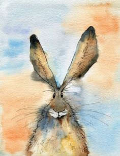 Limited Edition Print - Malkin the Hare, Hare Print - A limited edition of one . - Limited Edition Print – Malkin the Hare, Hare Print – A limited edition of one of my original - Watercolor Animals, Watercolor And Ink, Watercolor Paintings, Ink Paintings, Animal Paintings, Animal Drawings, Lapin Art, Rabbit Art, Bunny Art