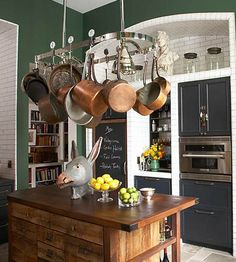 Paint Color Portfolio: Dark Green Kitchens